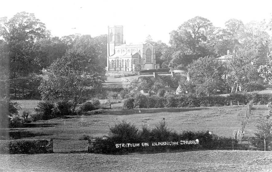 Stretton on Dunsmore Parish Church, seen across fields and cottages.  1906 |  IMAGE LOCATION: (Warwickshire County Record Office)