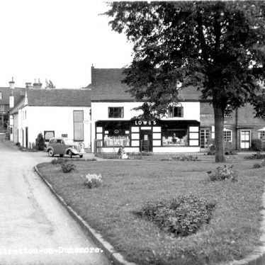 Lowe's shop, cottages and cars, Stretton on Dunsmore.  1959 |  IMAGE LOCATION: (Warwickshire County Record Office)
