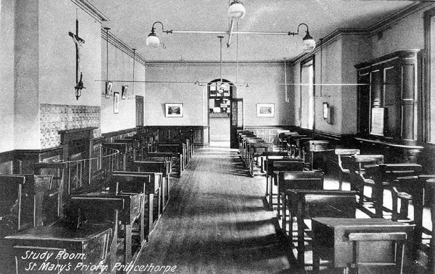 Interior vie of St Mary's Priory study room, Princethorpe.  1910s |  IMAGE LOCATION: (Warwickshire County Record Office)