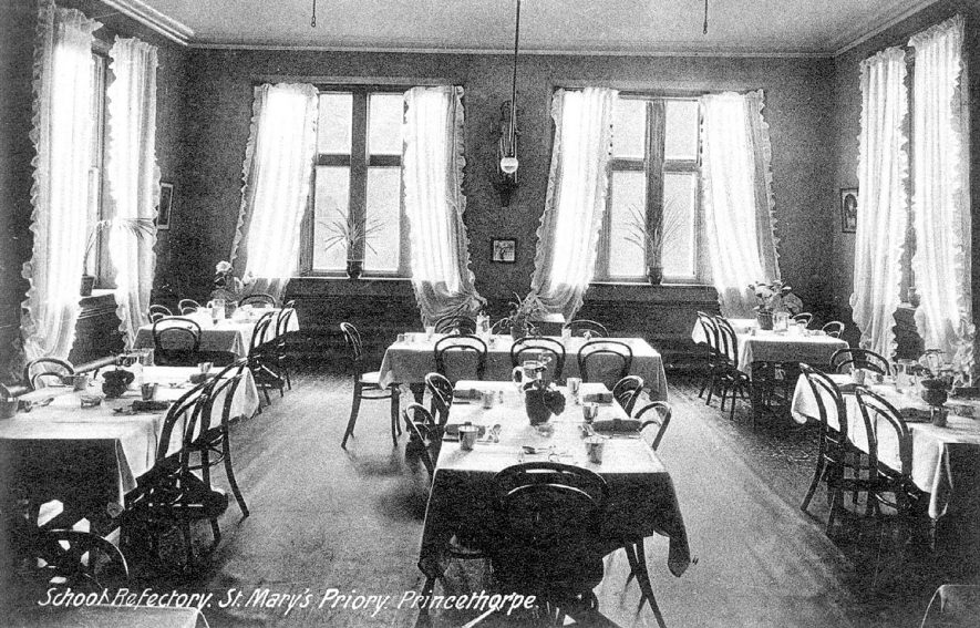 Interior view of St Mary's Priory school refectory, Princethorpe.  1910s |  IMAGE LOCATION: (Warwickshire County Record Office)
