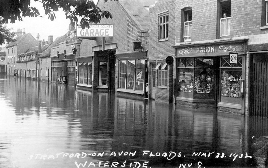 Floodwater covering Waterside, Stratford upon Avon.  May 23rd, 1932 |  IMAGE LOCATION: (Warwickshire County Record Office)
