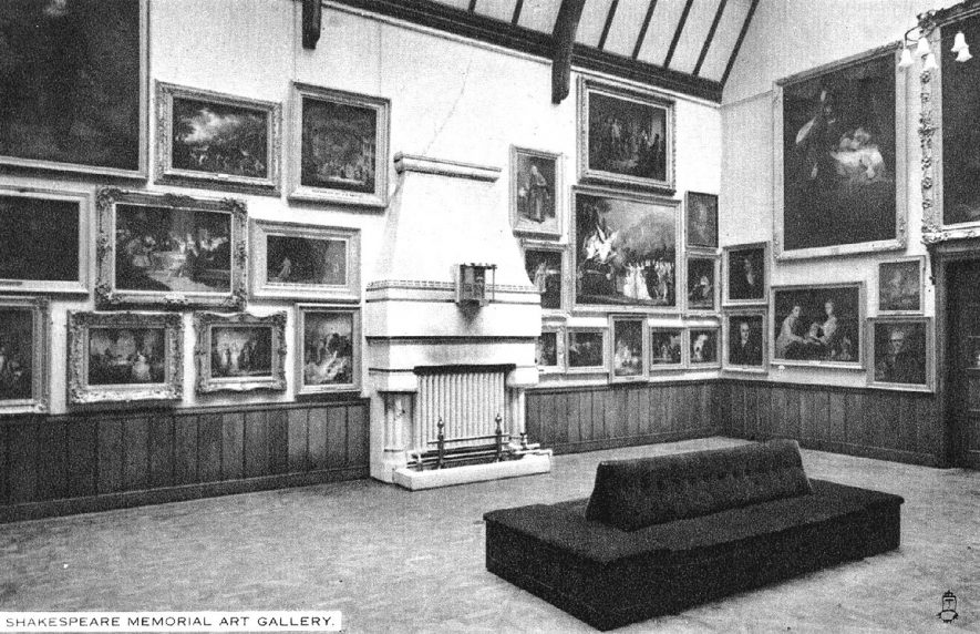 Interior view of Shakespeare Memorial Art Gallery, Stratford upon Avon.  1920s |  IMAGE LOCATION: (Warwickshire County Record Office)