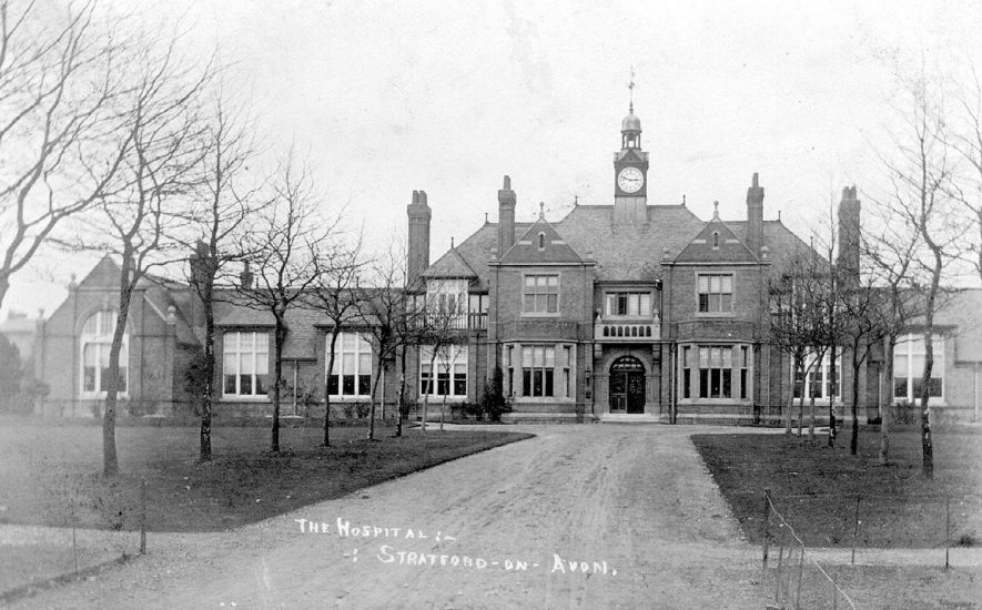 Stratford upon Avon Hospital from the front,  facing the Alcester Road.  1900s |  IMAGE LOCATION: (Warwickshire County Record Office)