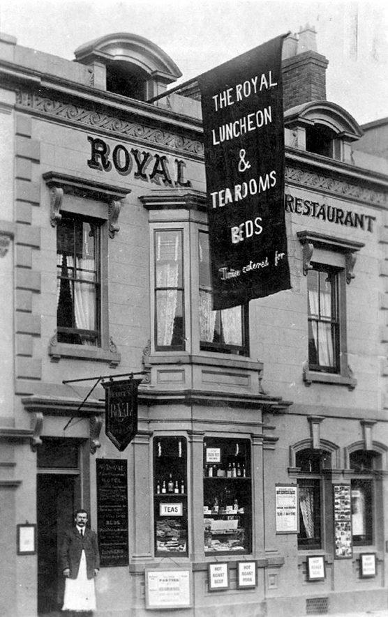 The Royal, 18, Bridge Street, Stratford upon Avon.  1900s [The Royal was at 28 Bridge Street. The man in the picture, may be Henry George Pearce (