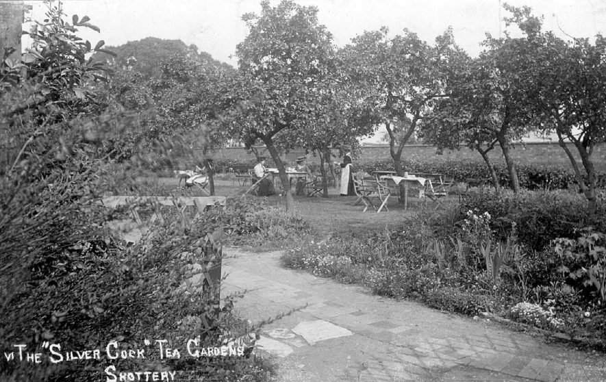 Two ladies being served in the gardens of the 'Silver Cock' tea gardens, Shottery.  1900s |  IMAGE LOCATION: (Warwickshire County Record Office)