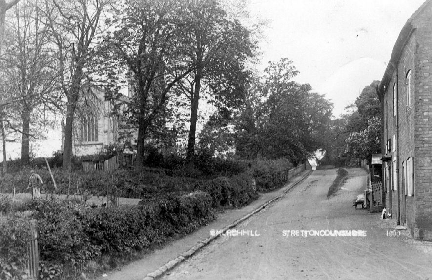 Church Hill, Stretton on Dunsmore showing an obscured view of the church.  1905 |  IMAGE LOCATION: (Warwickshire County Record Office)