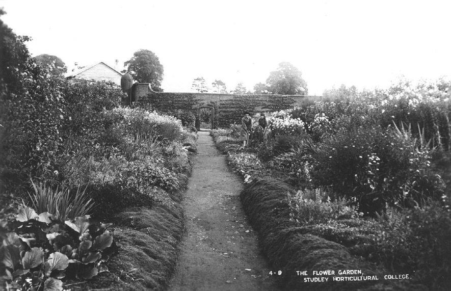 Studley Horticultural College flower gardens.  1920s |  IMAGE LOCATION: (Warwickshire County Record Office)