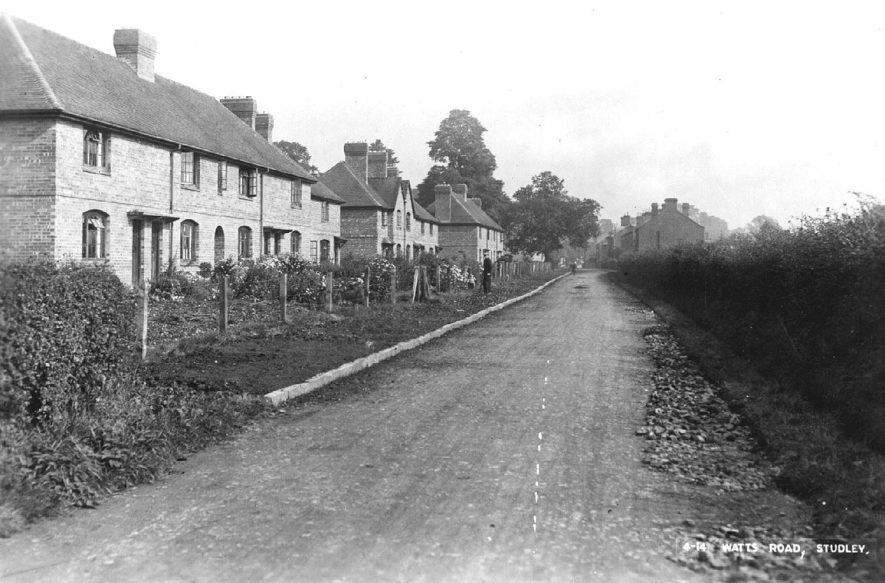 Watts Road which was named after John Watts who built The Willows. Studley.  1920s |  IMAGE LOCATION: (Warwickshire County Record Office)