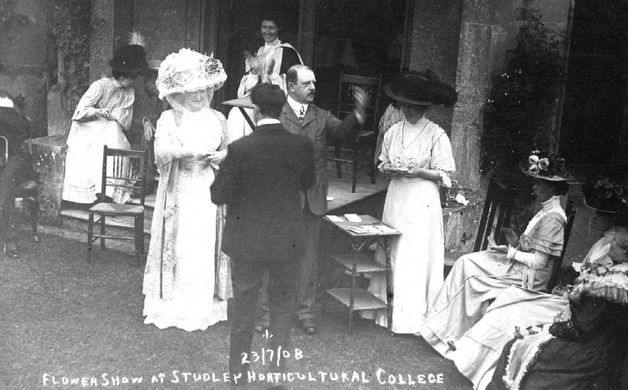 Studley Horticultural College. Flower Show 23 July 1908. Probably prize giving scene.  1908    IMAGE LOCATION: (Warwickshire County Record Office)
