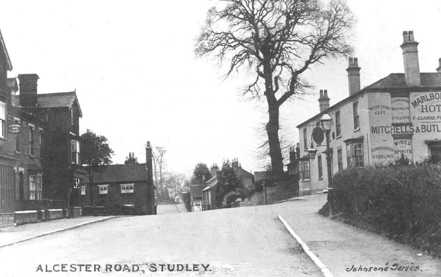 View along Alcester Road showing the Marlborough Hotel, Studley.   1910s |  IMAGE LOCATION: (Warwickshire County Record Office)
