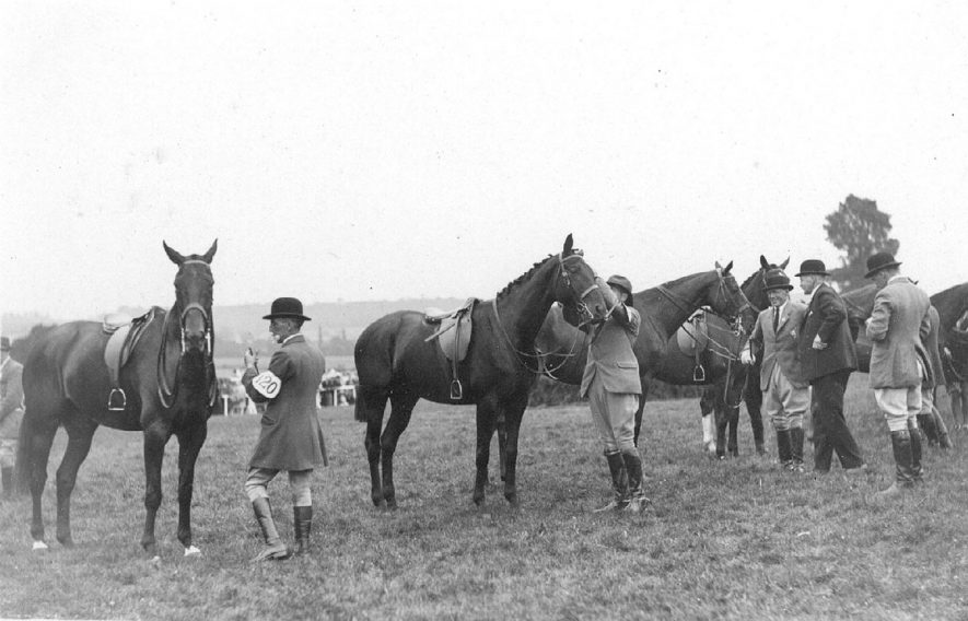 Studley horse show showing the judging of hunters at horse show.  1920s |  IMAGE LOCATION: (Warwickshire County Record Office)