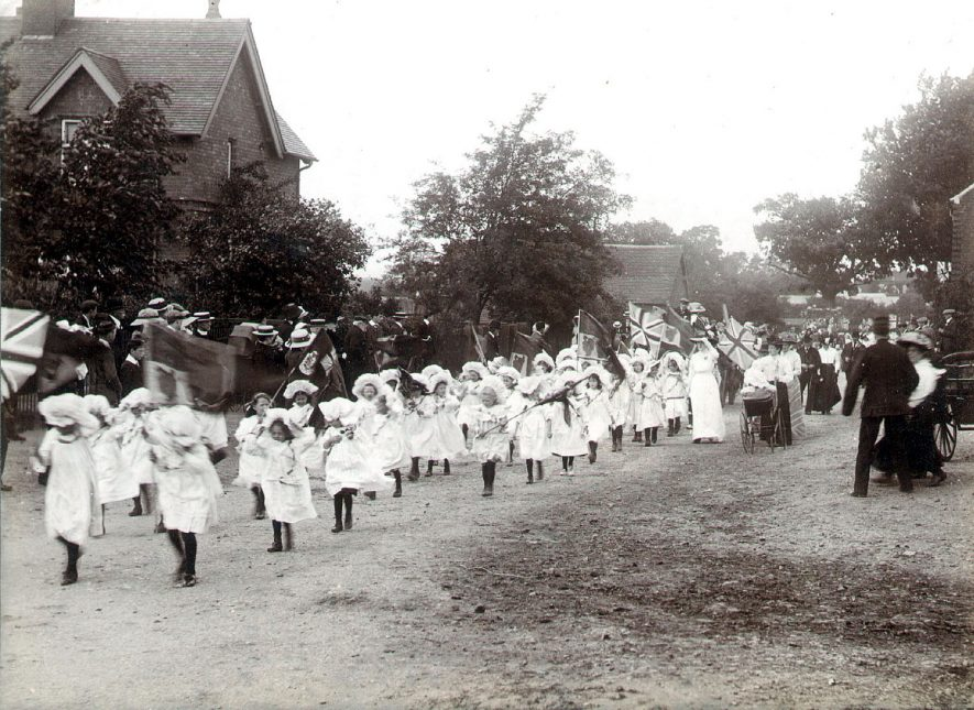 Young girls in a procession at George V coronation celebrations, Coleshill.  1910 |  IMAGE LOCATION: (Coleshill Library)