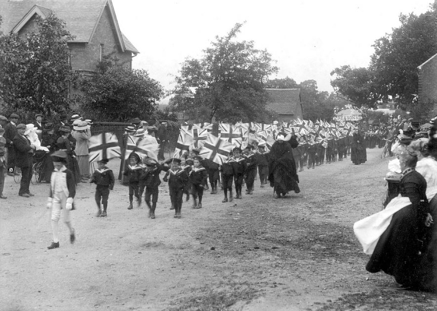 Procession of boys all dressed in sailor suits for  George V coronation celebrations, Coleshill.  1910 |  IMAGE LOCATION: (Coleshill Library)