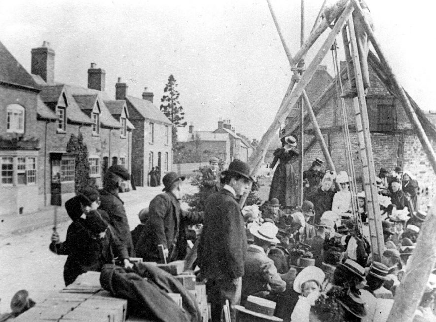 Laying foundation stone of Methodist Church by Miss Gibson, Coleshill.  1900 |  IMAGE LOCATION: (Coleshill Library) PEOPLE IN PHOTO: Gibson, Miss, Gibson as a surname