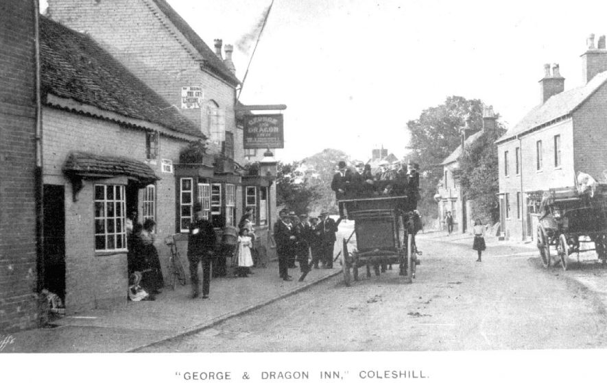 The George & Dragon Inn with a stationary laden horse bus outside, Coleshill.  1904 |  IMAGE LOCATION: (Coleshill Library)