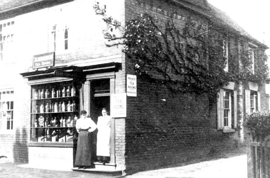 Hemming's Tea Rooms, High Street, Coleshill.  Situated by the Lych gate, after moving from lower down the High Street by Midland Bank.  This is a copy made on 27th June 1980 of a  photograph taken in 1900. |  IMAGE LOCATION: (Coleshill Library)