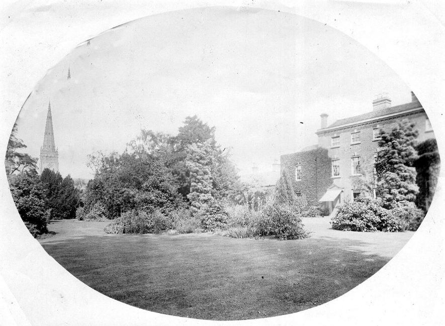 Vicarage parish church tower and part of garden, Coleshill.  1900s |  IMAGE LOCATION: (Coleshill Library)