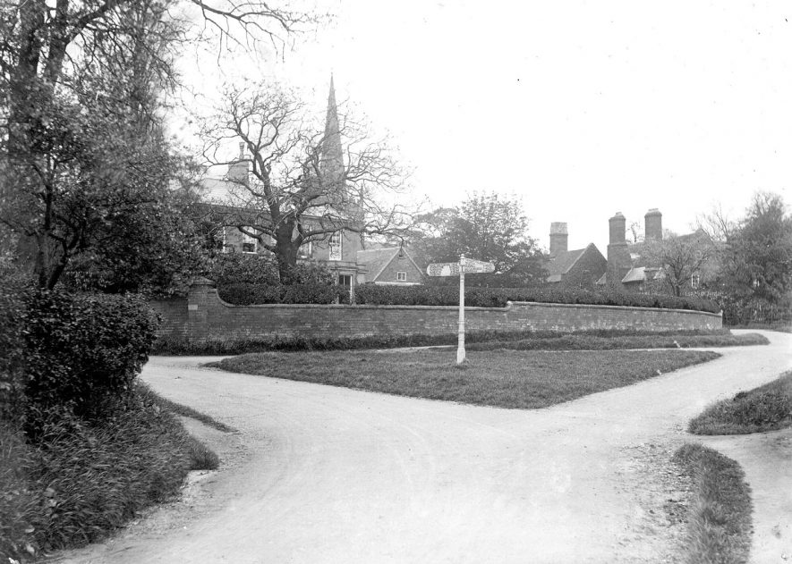 Shustoke village with church spire in the background.  1950s |  IMAGE LOCATION: (Coleshill Library)