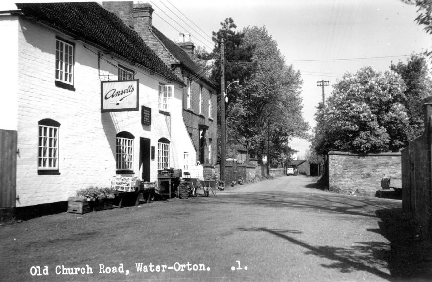 Old Church Road, Water Orton with unidentified public house.  1960s [This building was in fact an off licence and village shop. It was owned by Gilbert Rhodes, a real village character, who used to fly a