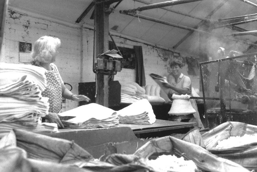 Austin Aspden Ltd, Atherstone.  Violet Kremer and Olive Hollis working in the hardening shop.  1986 |  IMAGE LOCATION: (Atherstone Library)