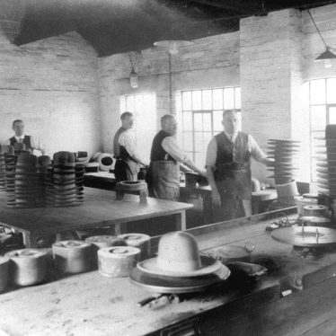 Atherstone.  Hatton's hat factory, velouring department