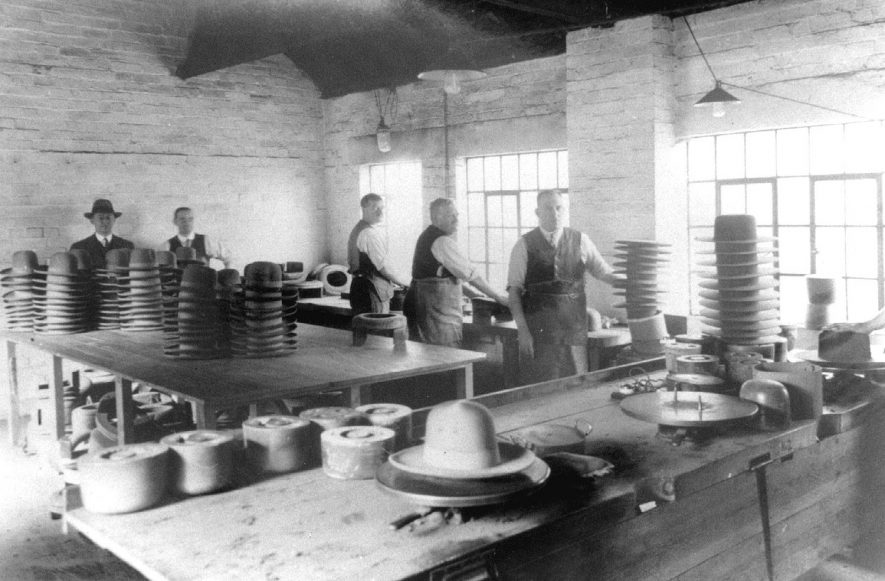 Velouring department of Hatton's hat factory, Atherstone.  1920 |  IMAGE LOCATION: (Atherstone Library)