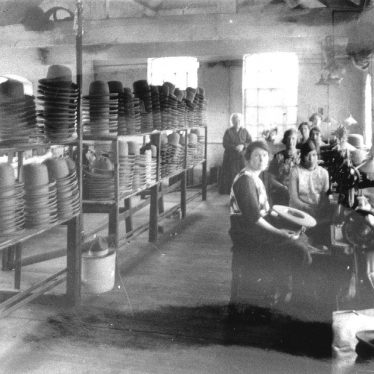 Atherstone.  Hatton's hat factory, machining department