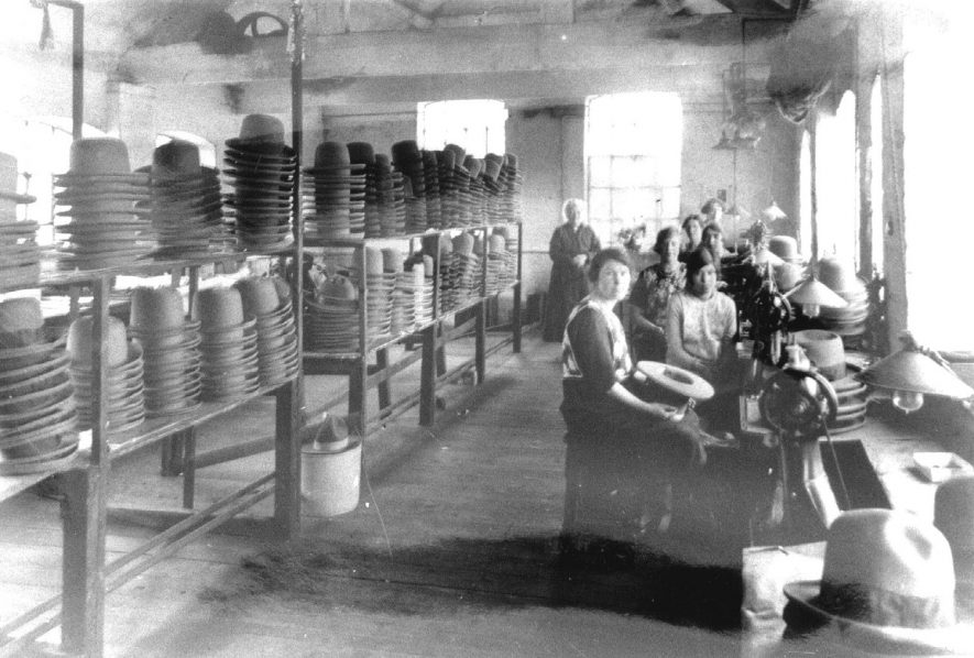 Hatton's hat factory, machining department, Atherstone.  1920 |  IMAGE LOCATION: (Atherstone Library)