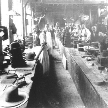 Atherstone.  Hatton's hat factory, finishing department