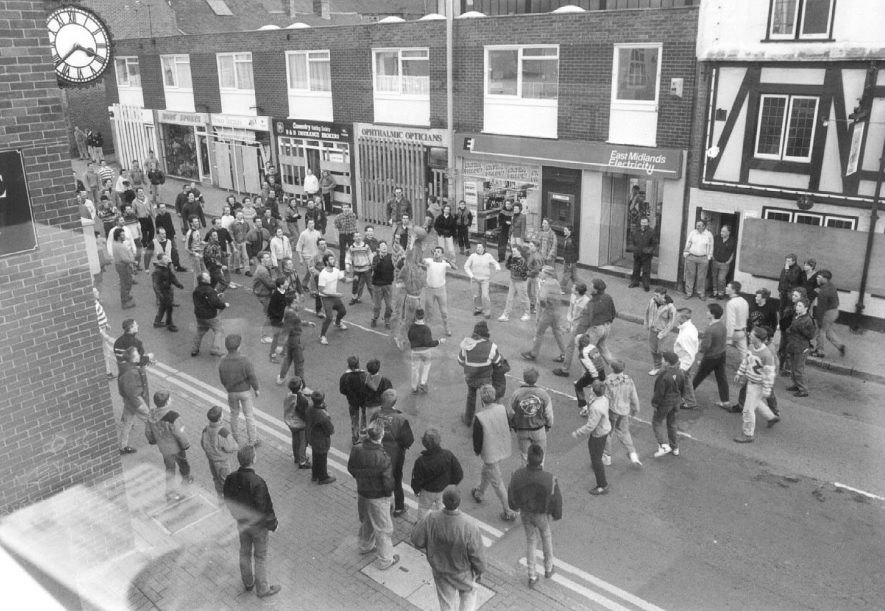 Atherstone Shrove Tuesday ball game in the streets.  1970s |  IMAGE LOCATION: (Atherstone Library)