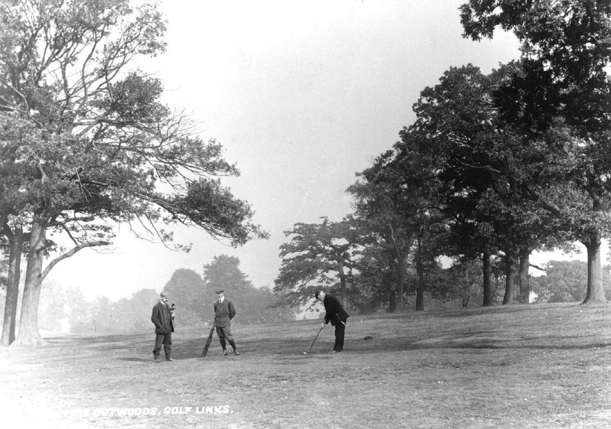 Golfers playing on The Outwoods golf course, Atherstone.  1910s |  IMAGE LOCATION: (Atherstone Library)