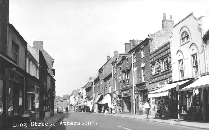 Shops and pedestrians in Long Street, Atherstone.  1950s |  IMAGE LOCATION: (Atherstone Library)