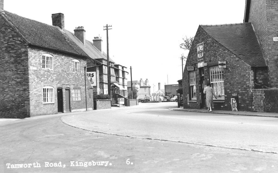 Tamworth Road, Kingsbury, showing shops and a garage and petrol station.  1960s |  IMAGE LOCATION: (Atherstone Library)