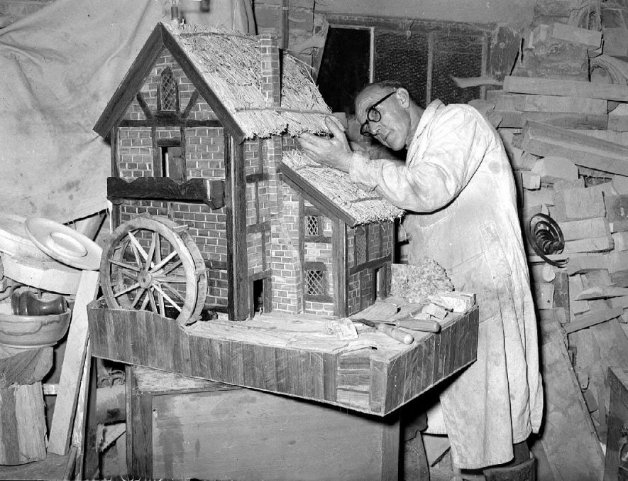 Watermill model being built by Mr C Gardner of  Stockton.  19 August 1957 |  IMAGE LOCATION: (Warwickshire County Record Office) PEOPLE IN PHOTO: Gardner, C, Gardner as a surname