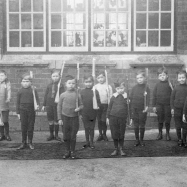 Bentley.  Schoolchildren outside Elementary School