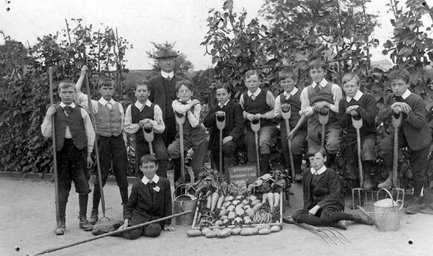 Stockton School gardening class T82. A teacher with boys displaying vegetables and holding garden implements.  1914 |  IMAGE LOCATION: (Warwickshire County Record Office)