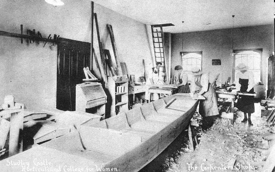 Interior of the carpenters workshop at Studley Castle Horticultural College for Women.  1910s |  IMAGE LOCATION: (Warwickshire County Record Office)