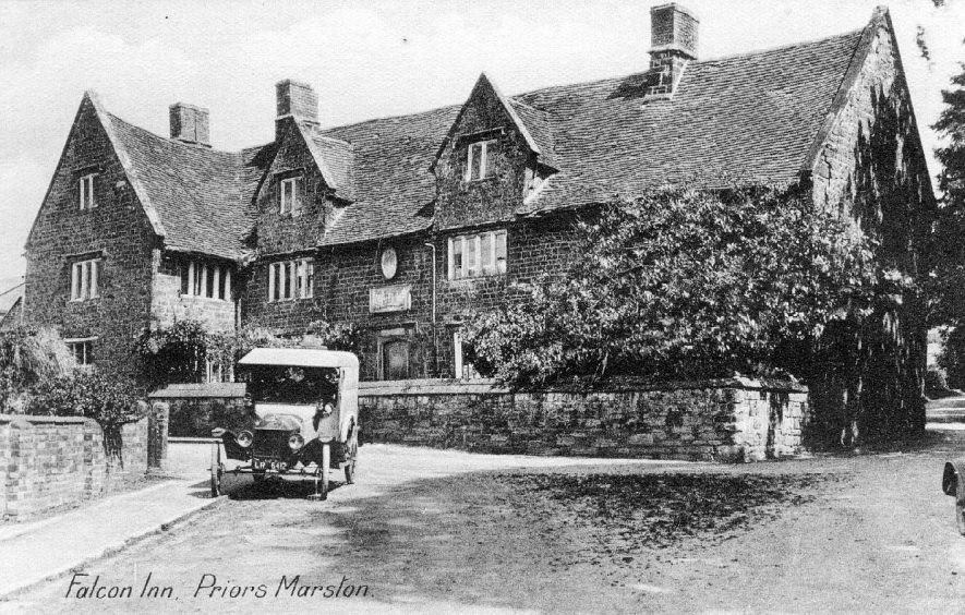 Falcon Inn, Priors Marston, with a motorcar outside (registration no LA 6412).  1920s |  IMAGE LOCATION: (Warwickshire County Record Office)