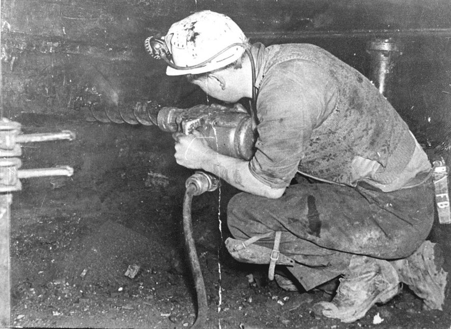 Drilling at the coalface, Birch Coppice Colliery, Polesworth. 1950s[Known locally as Hall End Pit it is on the A5 between Wilncote and Dordon. The official postal address is Hall End, Polesworth] |  IMAGE LOCATION: (Warwickshire County Record Office)