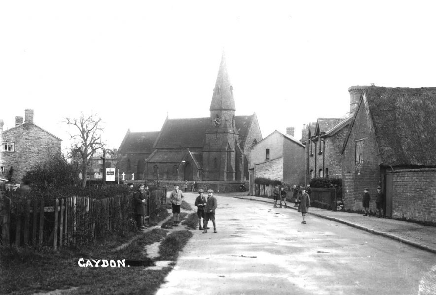 Looking towards Gaydon Church from the north with the County Library on the left. Group of children in the road.  1950s |  IMAGE LOCATION: (Warwickshire County Record Office)