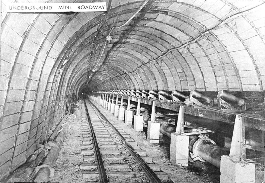 Underground mine roadway, Birch Coppice Colliery, Polesworth. 1950s[Known locally as Hall End Pit it is on the A5 between Wilnecote and Dordon. The official postal address is Hall End, Polesworth] |  IMAGE LOCATION: (Warwickshire County Record Office)