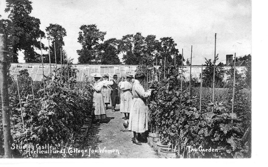 Studley Castle Horticultural College for  Women. Tutor and students in garden.  1910 |  IMAGE LOCATION: (Warwickshire County Record Office)