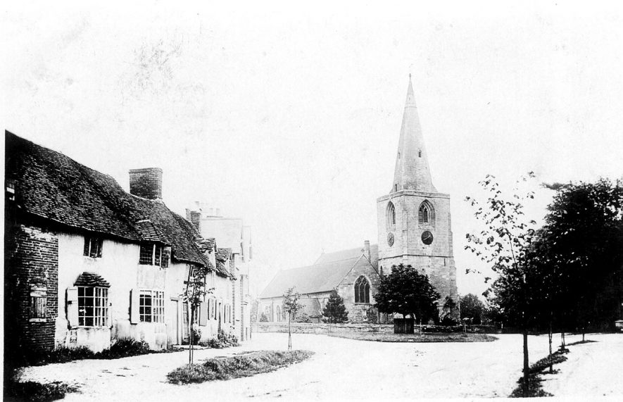 St Mary Magdalene church and cottages in Tanworth-in-Arden.  1900s |  IMAGE LOCATION: (Warwickshire County Record Office)