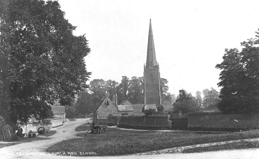 Tredington Parish Church and village school.  1900s |  IMAGE LOCATION: (Warwickshire County Record Office)