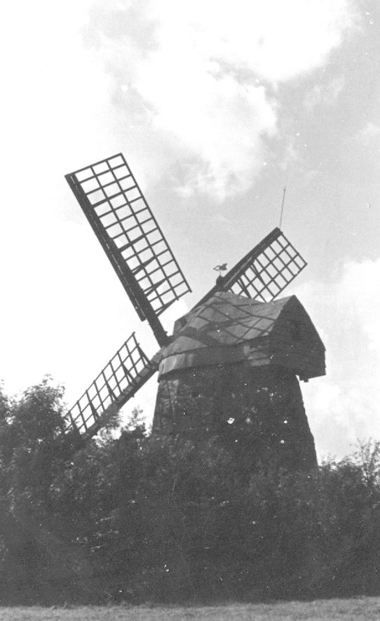 View of Tysoe windmill. 1930sThis windmill lies on the borders of two parishes, Tysoe and Compton Wynyates.Built during the early 18th century. 12 sided, barrel shaped stone tower with batter. 4 common sails, aluminium covered conical cap with finial & tail projection for winding gear, 2 pairs stones and all machinery. Ceased work after lightning stike in 1915. New sails 1935. Partial restoration 1951. Final restoration 1968-75 by D. Ogden at the expense of the owner The Marquess of Northampton. |  IMAGE LOCATION: (Warwickshire County Record Office)