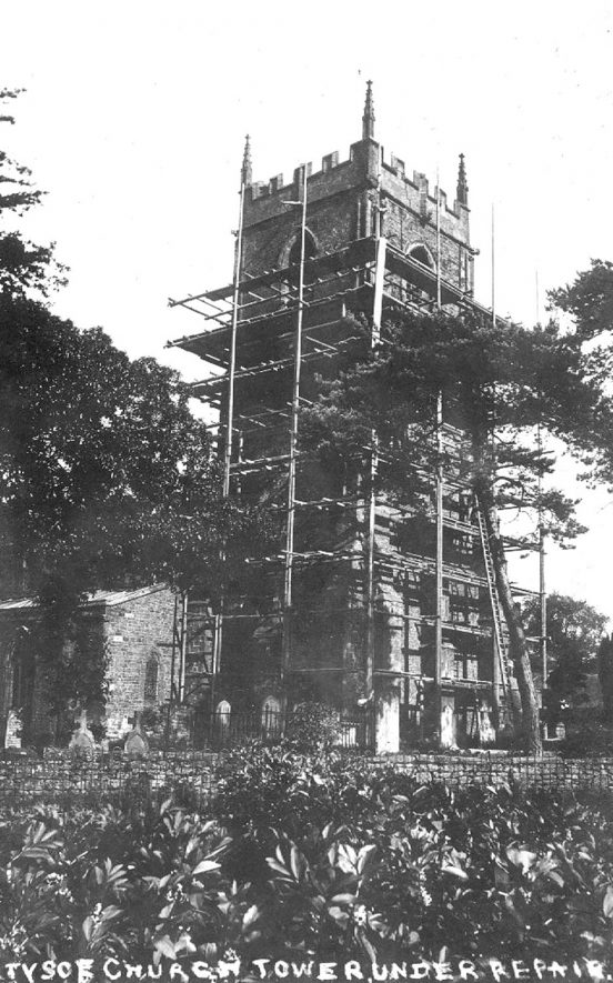 The tower of Tysoe church when it was under repair in 1912. |  IMAGE LOCATION: (Warwickshire County Record Office)