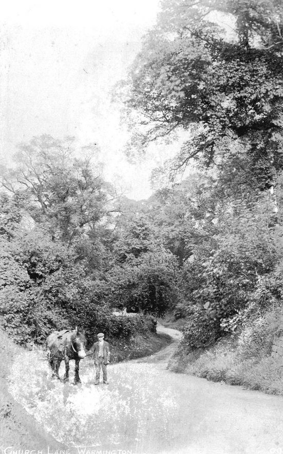 Fred Wyatt and his horse in Church Lane, Warmington.  1900s    IMAGE LOCATION: (Warwickshire County Record Office) PEOPLE IN PHOTO: Wyatt, Fred