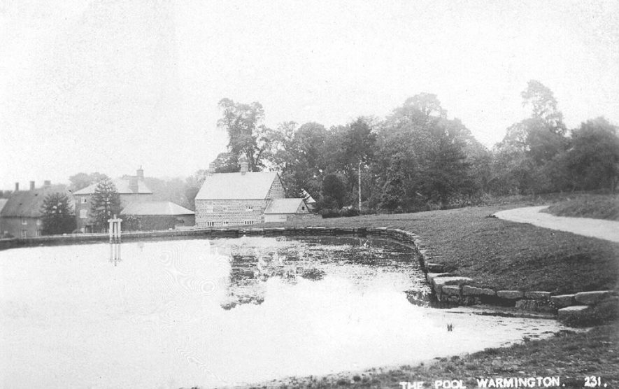 View of Warmington village from across the pool.  1900s |  IMAGE LOCATION: (Warwickshire County Record Office)