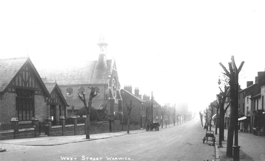 West Street, Warwick, showing the Roman Catholic church.  1910s |  IMAGE LOCATION: (Warwickshire County Record Office)