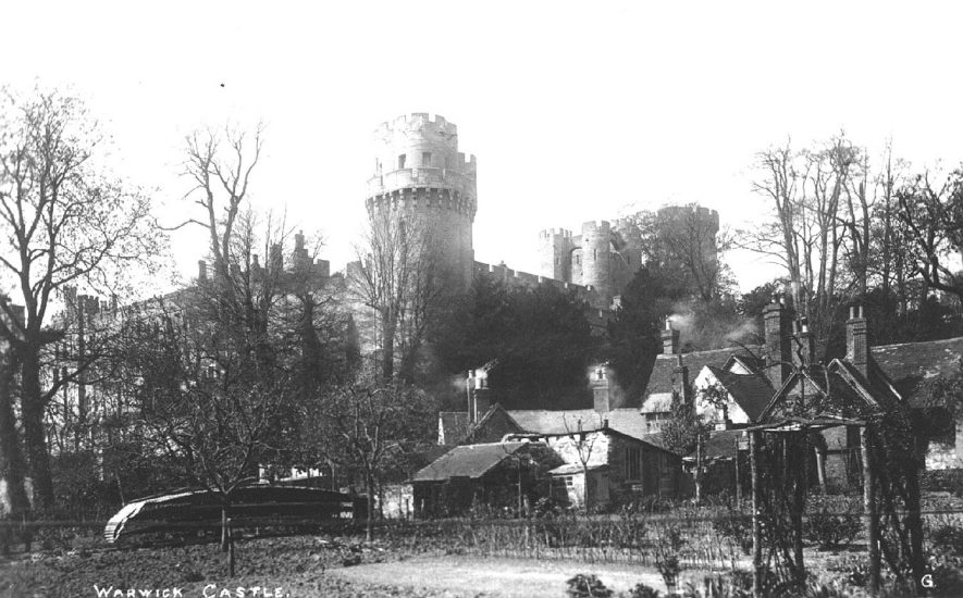 Warwick Castle seen from gardens in Mill Street.  1910s |  IMAGE LOCATION: (Warwickshire County Record Office)